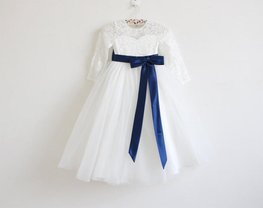 Mariage - Light Ivory Long Sleeves Flower Girl Dress Ivory Baby Girls Dress Lace Tulle Flower Girl Dress With Navy Sash/Bows Floor-length