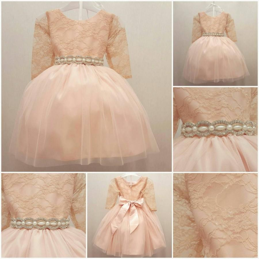 Mariage - Girls Lace Sleeve Dress in Blush Pink Color, Knee Length Dress, Flower Girls Dress with Rhinestone Removable Sash