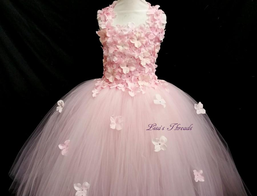 Mariage - Light Pink flower girl dress/ Pink hydrangea dress (many colors available: white, aqua, peach&coral, lavender, yellow... )