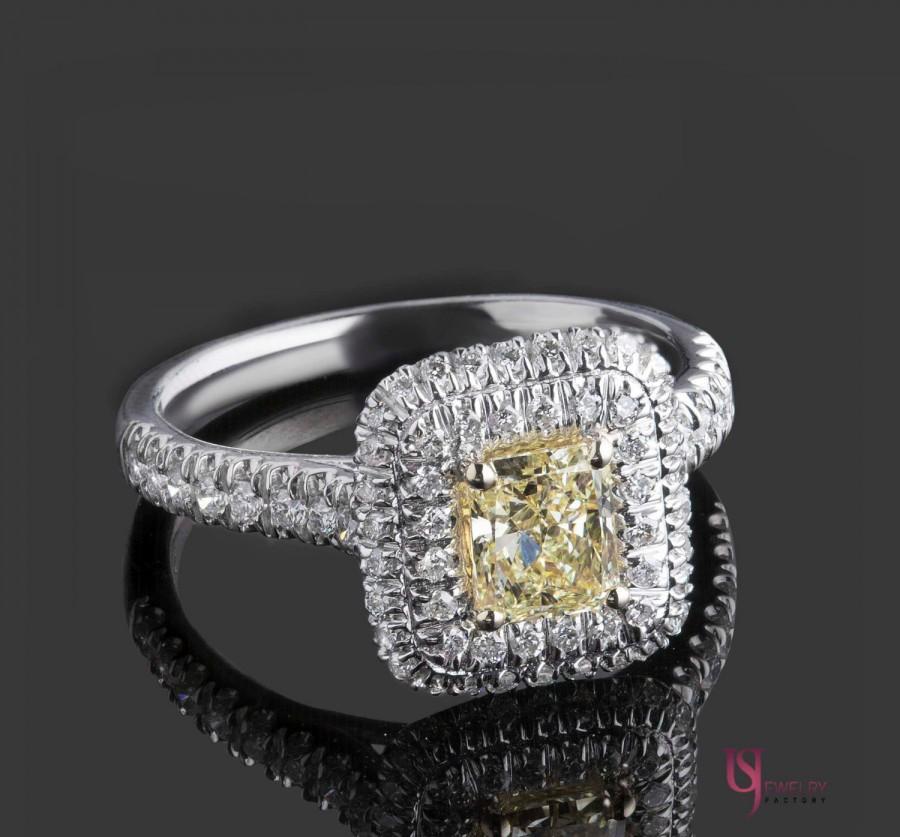 Mariage - Natural Fancy Yellow Diamond Radiant Cut Engagement Ring, 1.34 TCW, Double Halo Diamond Ring, Yellow Diamond Ring, 18k White Gold