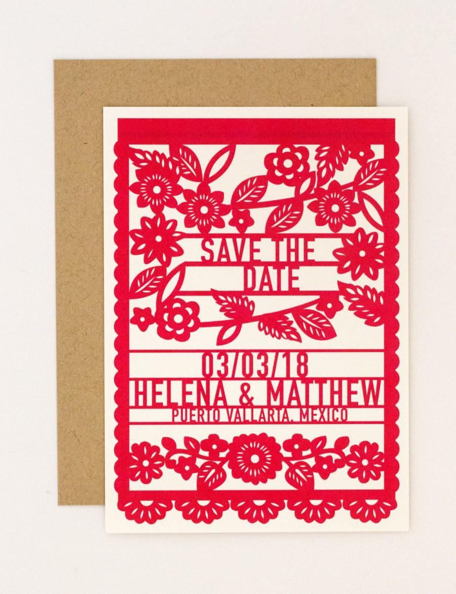 Mariage - Destination Wedding Save the Date – Colorful Mexican Fiesta Papel Picado Save the Date (Helena Suite)