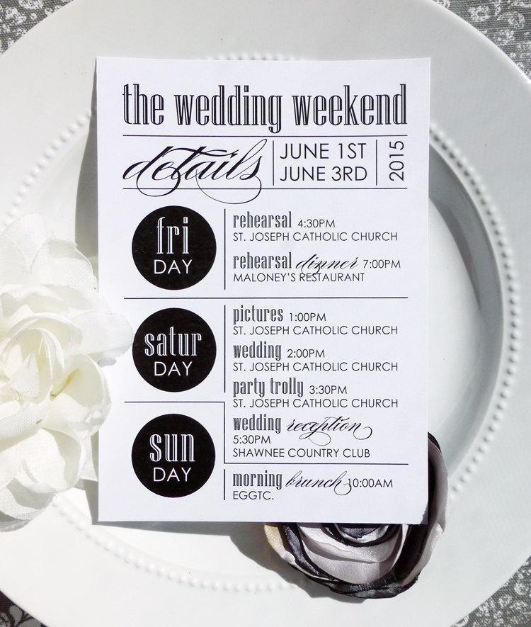 Hochzeit - Printable Wedding Itineraries - Style IT6 - ULTRAMODERN COLLECTION