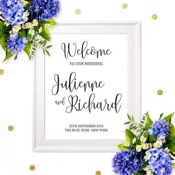 Wedding Welcome Poster Rustic Chic Calligraphy Board Diy Printable Sign Personalized Reception