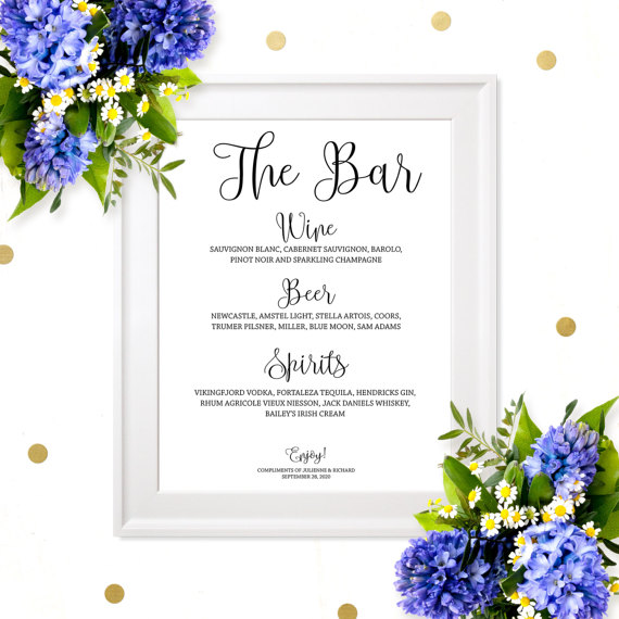 زفاف - Wedding Bar Menu Sign-Chic Calligraphy Wedding Bar Menu-Personalized DIY Printable Wedding Elegant Bar Decor-Custom Wedding Drink Menu Sign