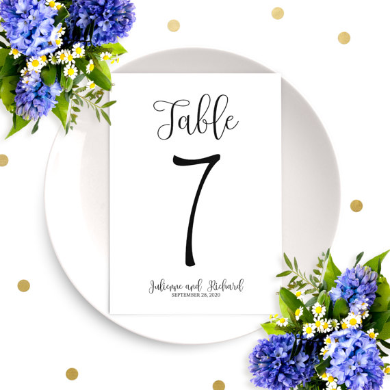 Wedding - Personalized Wedding Table Numbers-Affordable DIY Printable Calligraphy Table Number Cards-Wedding Table Decor-Chic Rustic Wedding Signs