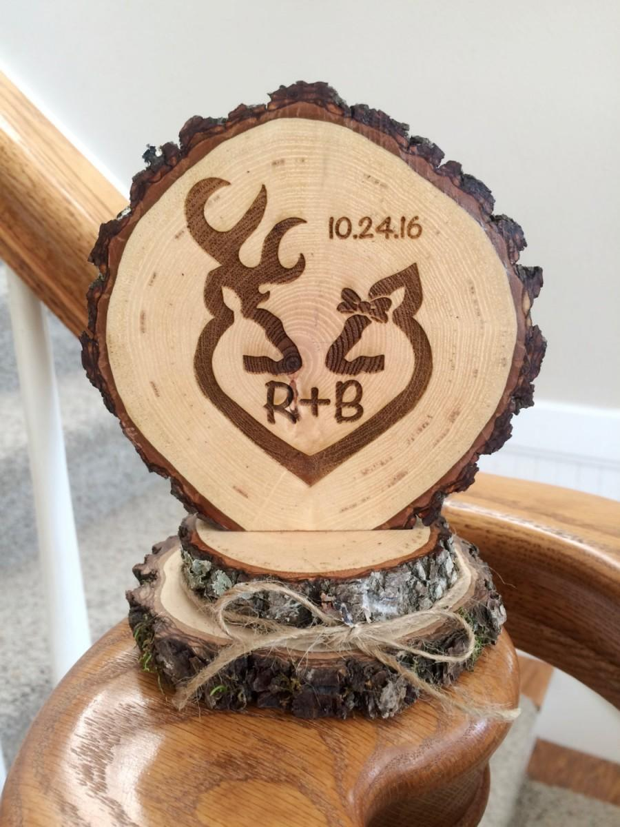 Wedding - Rustic Deer Wedding Cake Topper, Engraved Wedding Cake Topper, Custom Topper, Buck Doe Topper, Barn Wedding, Country Wedding