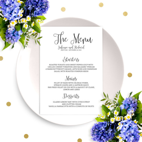 Wedding - Wedding Menu Sign-Printable Wedding Menu Cards-Wedding Menu Template-Rustic Chic Calligraphy Wedding Menu Cards-Custom Wedding Menu Cards