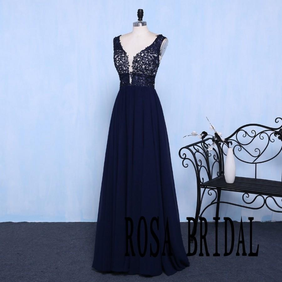 Mariage - Navy Blue V Neck A line Chiffom Bridesmaid Dress Lace Applique Beading Custom Size color