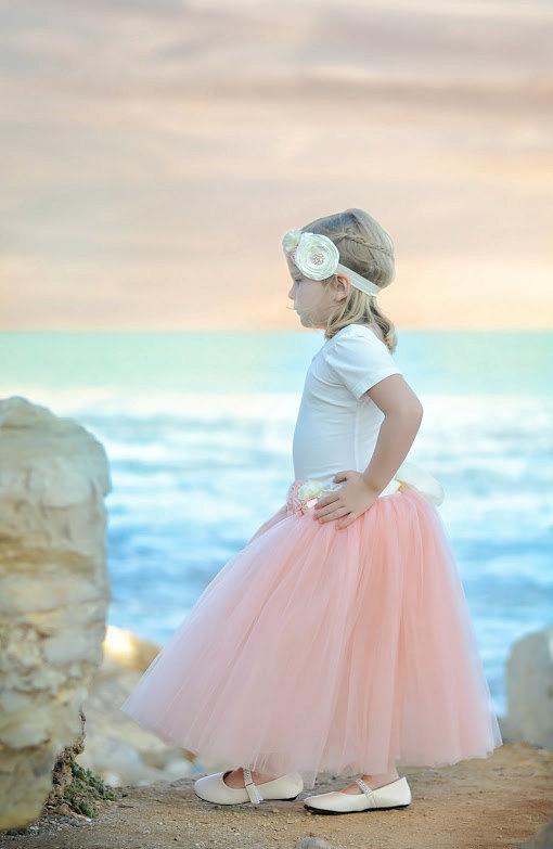 Mariage - Blush Pink Tutu, Blush Pink Long Tulle Skirt, Blush Pink Tutu, Girls Pink Tutu, Blush mint wedding, light pink tutu, ballet pink tutu