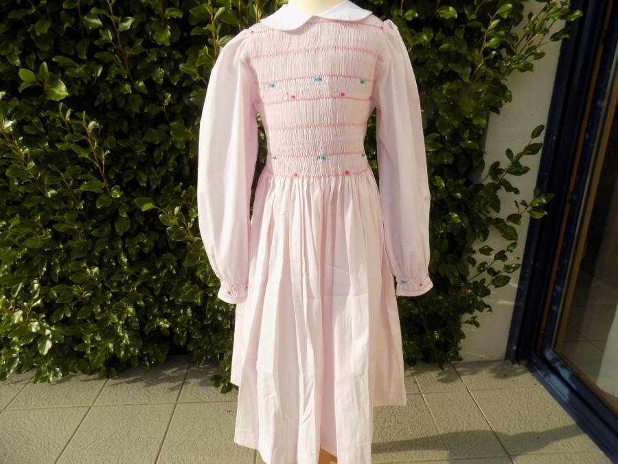 Mariage - Smocking dress, girl, dress col Claudne, long sleeves, dress girl, style, Stranger things, girl 6 years, 8 years, 10 years, 12 years, hand smocking, embroidered hand