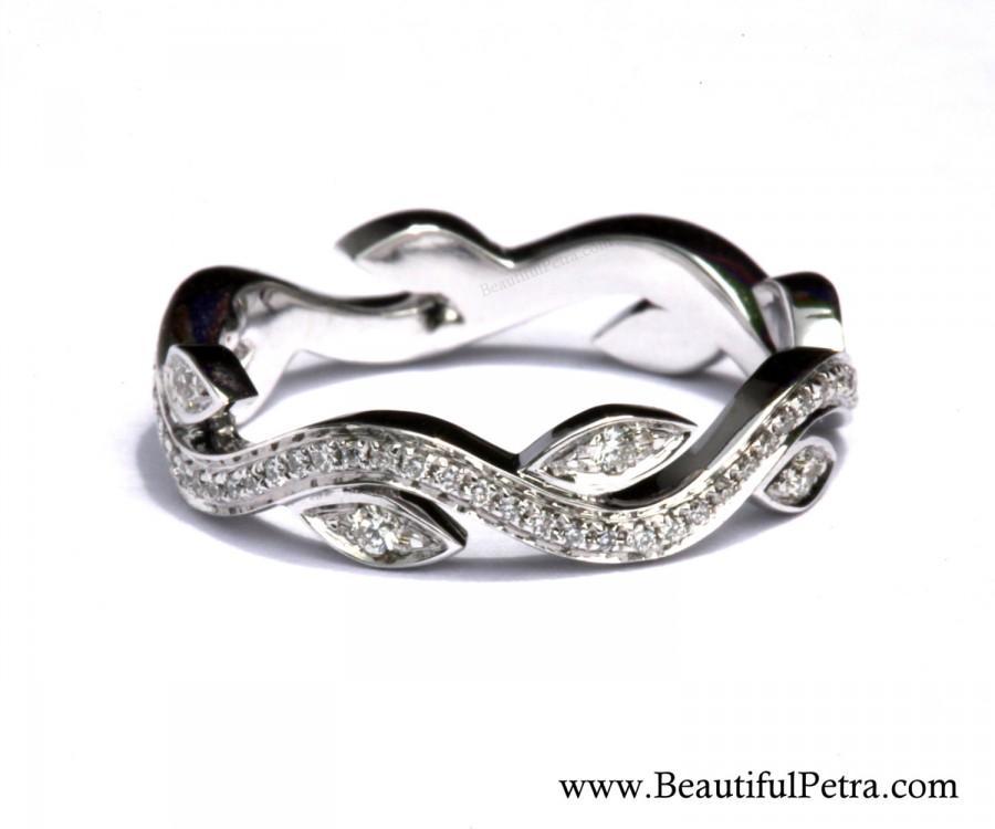 Wedding - Leaf Eternity WEDDING BAND NO Milgrain - Flower - Diamond -  Vine - Right Hand  Ring - Platinum - fL07