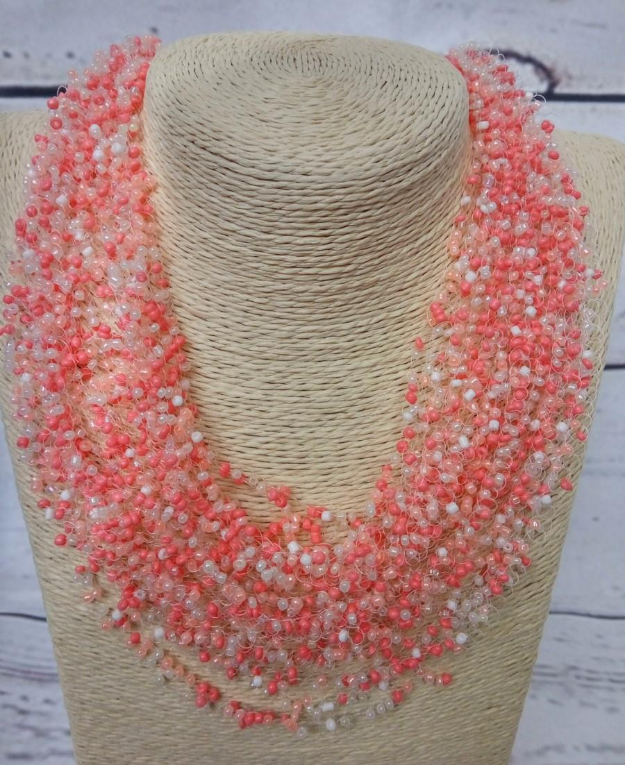 Mariage - Peach beige gentle necklace airy crochet everyday bright multistrand statement unusual cobweb casual romantic wedding bridesmaid seed bead