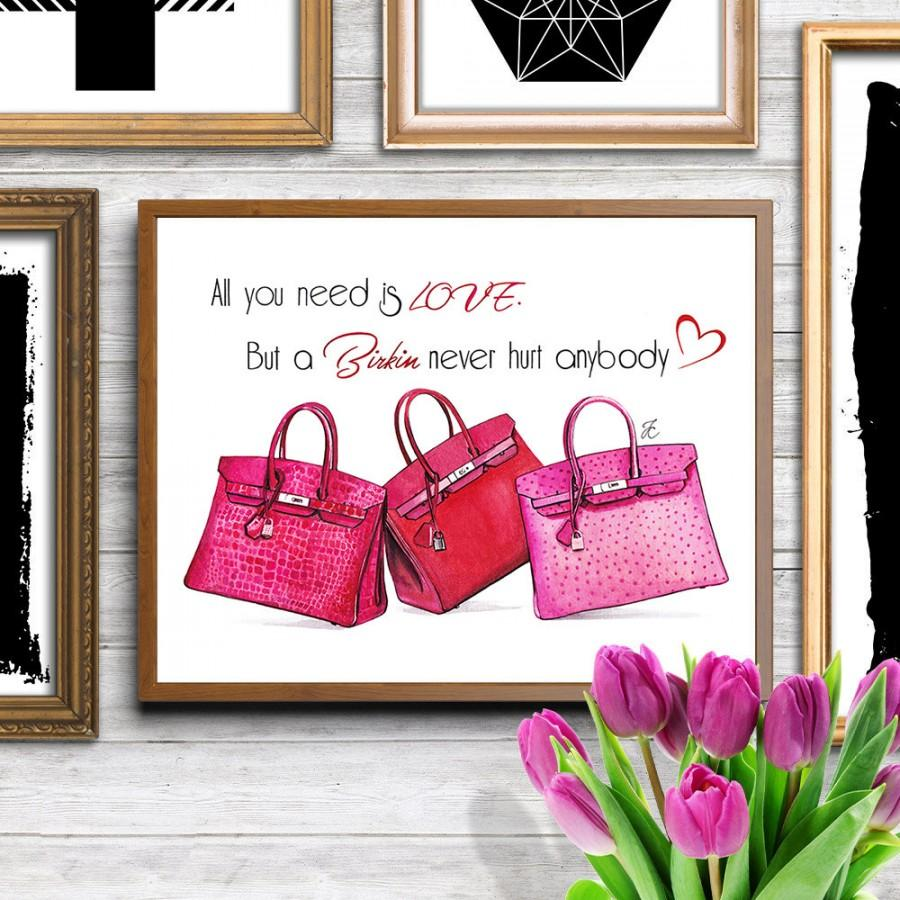 Mariage - Hermes birkin, Birkin bag, Hermes bag, Hermes bag print, Hermes illustration, Hermes Birkin art, pink illustration, fashion illustration