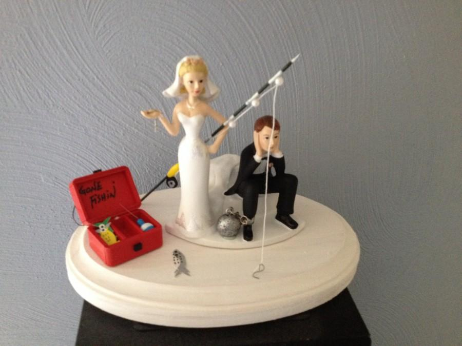 Wedding - Wedding Cake Topper Ball and Chain Key Funny Humorous Going Gone Fishing Theme