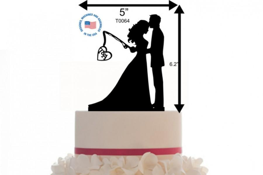 Custom Wedding Cake Topper Personalized Silhouette With Initial Keepsake Couple Silhouette Fishing Groom And Bride Topper 2670016 Weddbook