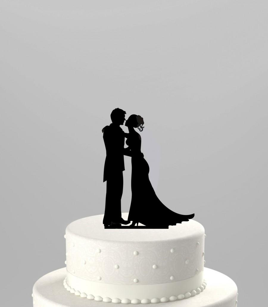 Wedding - Wedding Cake Topper Silhouette Groom and Bride, Acrylic Cake Topper [CT43]