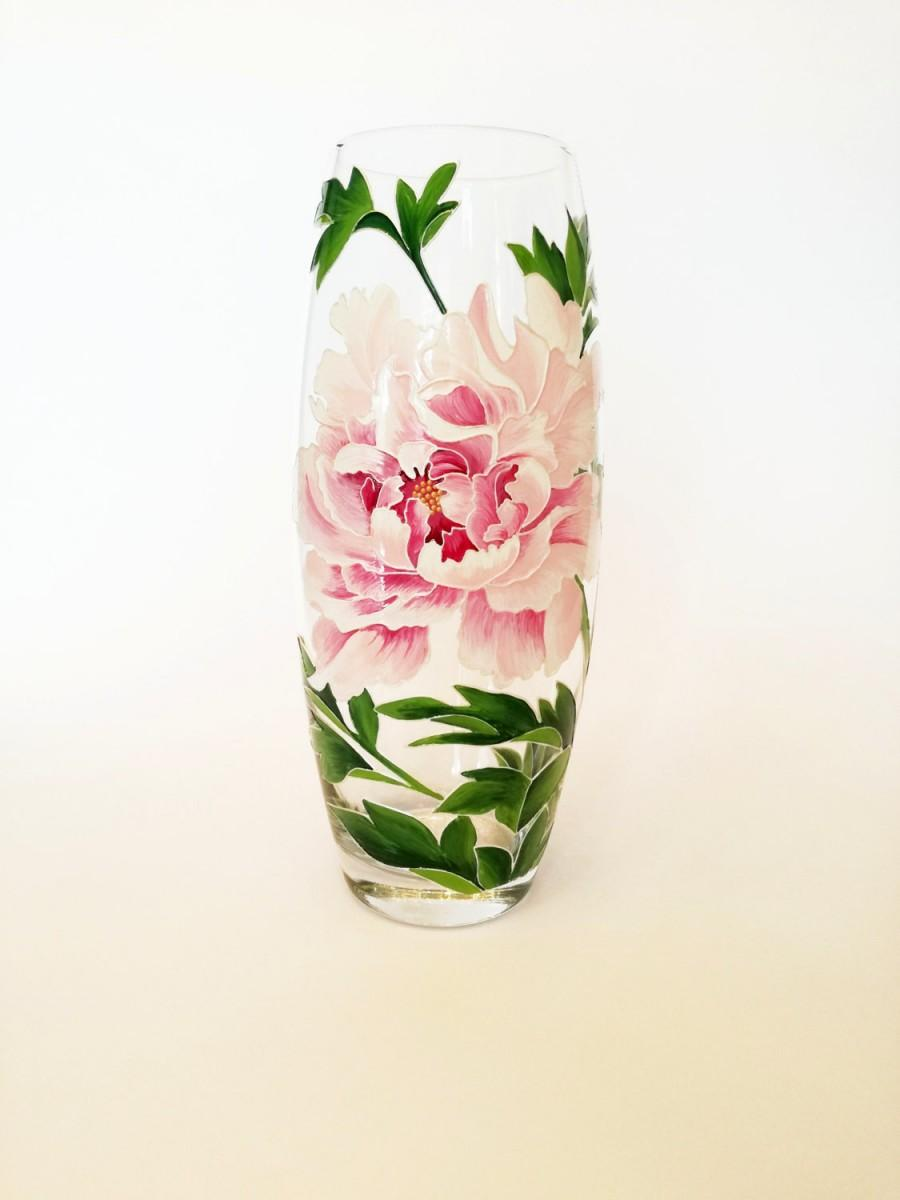 Anniversary gift for her hand painted flower vase room decoration anniversary gift for her hand painted flower vase room decoration glass home decor table centerpiece housewarming gift hostess pink peony reviewsmspy