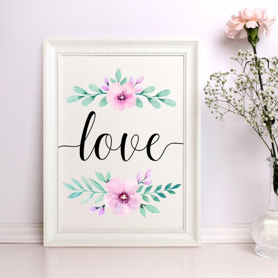 love print watercolor love print love wall art love printable floral