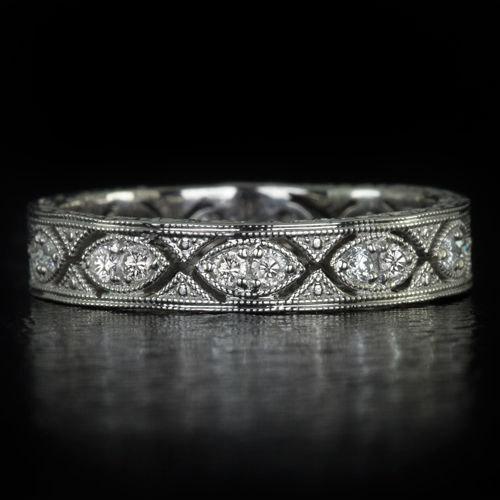 زفاف - Art Deco Eternity Diamond Wedding Band Stack-able Vintage Antique Engraved Filigree Milgrain Round Marquise 14K White Gold 8120