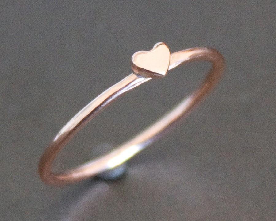 زفاف - Heart Ring Solid 10K Rose Gold Band with Small Heart - PROMISE RING