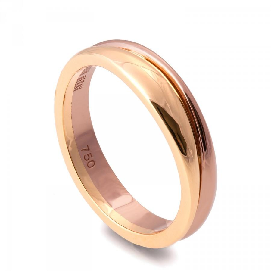 Mariage - Two Tone Wedding Band, Unique wedding band, Wedding Ring , Wedding Band , Men's Ring, Rose Gold Band, wave band, 18K solid gold band, 3