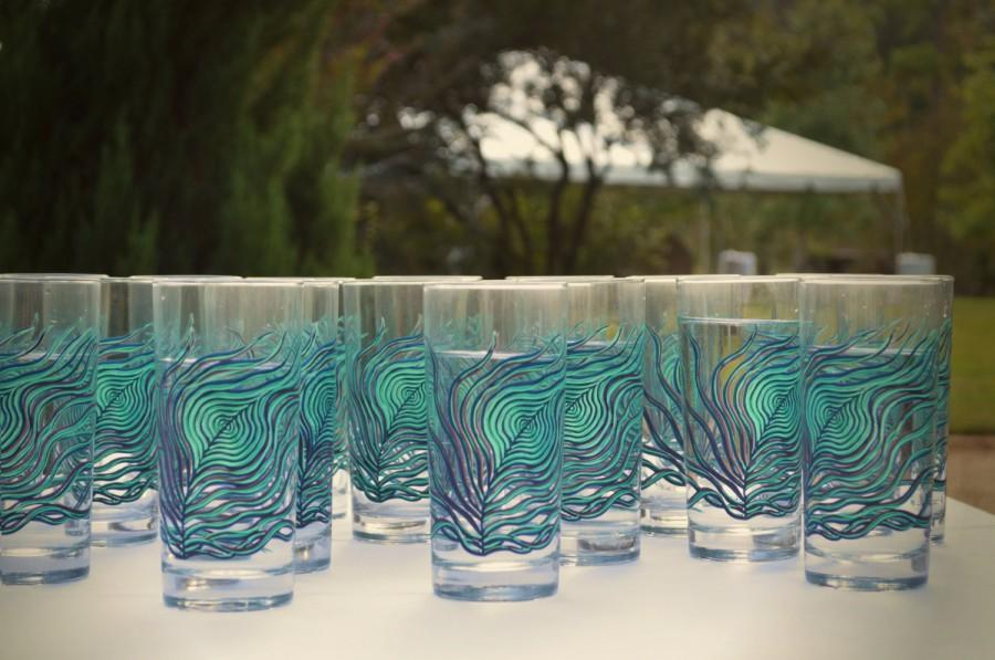 Wedding - Peacock Glasses - 12 Peacock Feather Wedding Glasses - Peacock Wedding, Water Glasses, Drinking Glasses, Glassware, Glasses