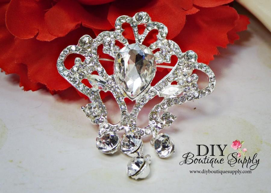 Hochzeit - Crystal Wedding Brooch with Triple Dangle - Rhinestone Brooch Pin - Dangle Brooch Wedding Bridal Sash Pin Cake brooch 65mm 941198