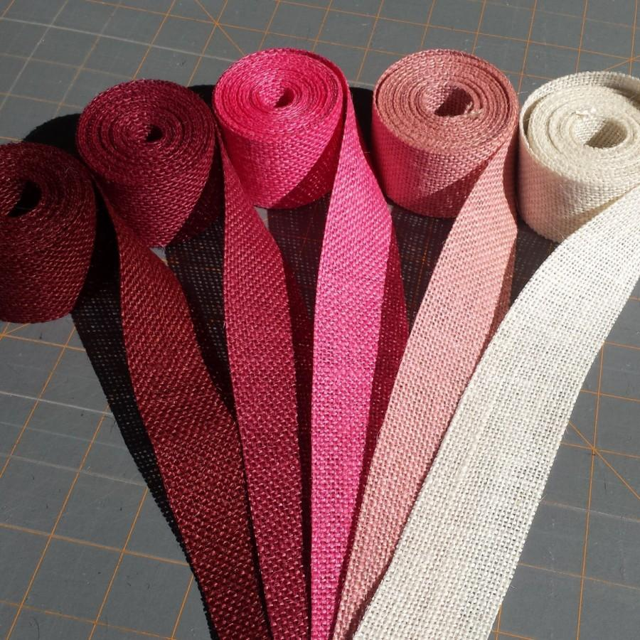 Hochzeit - 1.5 inch burlap ribbon-3 yards Pink Magenta or Burgundy Burlap Ribbon