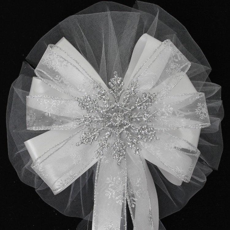 Hochzeit - Silver Glitter Snowflake Wedding Pew Bow - Church Wedding Bows