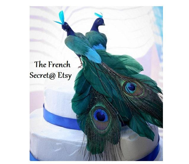 Mariage - Rustic Wedding Peacock Cake Topper Centerpiece Decoration Love Bird Woodland Floral Zen Shabby Chic Victorian