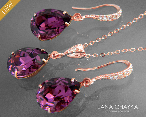Wedding - Amethyst Rose Gold Jewelry Set Purple Crystal Earrings&Necklace Set Swarovski Amethyst Rhinestone Jewelry Set Wedding Bridesmaids Jewelry