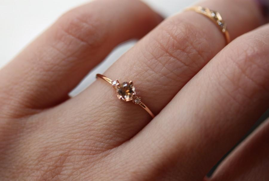 زفاف - 14K Morganite Diamond Ring, 14K Rose Gold, Solid Gold, Engagement Ring, Promise Ring, Pink Stone, Dainty Ring