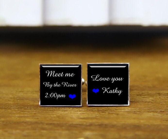 زفاف - Meet Me At Cufflinks, Love You, Custom Your Wording, Name, Date, Personalized Wedding Cufflinks, Square Cufflinks & Tie clip, Creative Gift