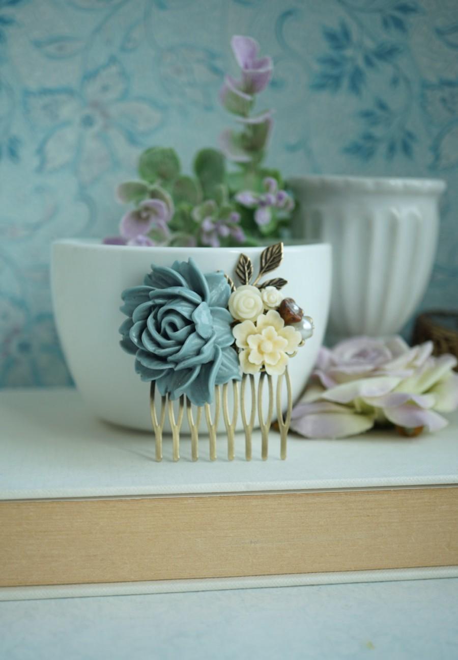 Mariage - Dusk Grey Blue Brass Leaf Sprig, Dusty Grey Blue Flower Hair Comb Bridesmaid Gift, Something Blue, Rustic Dusty Blue Grey Wedding, Grey Comb