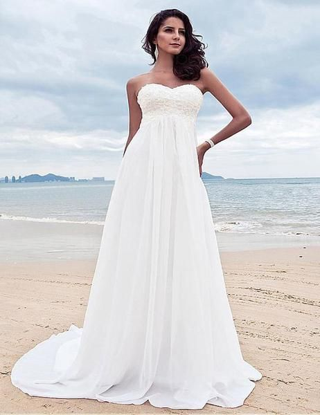 Mariage - Sexy & Soft Chiffon Beach Wedding Dress