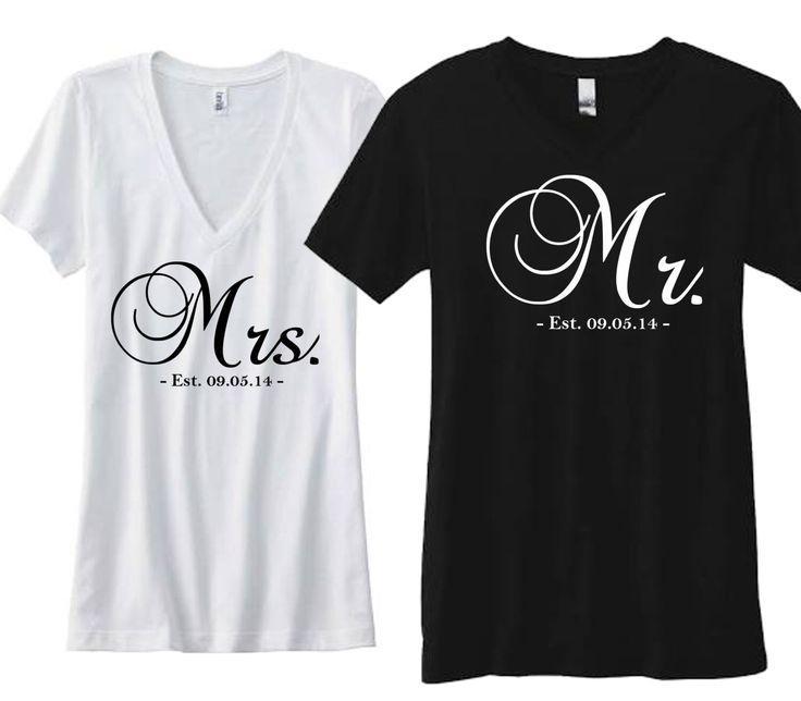 زفاف - Cute Couple Shirts Mrs. And Mr. Est. 09.05.14  By WriteWedding