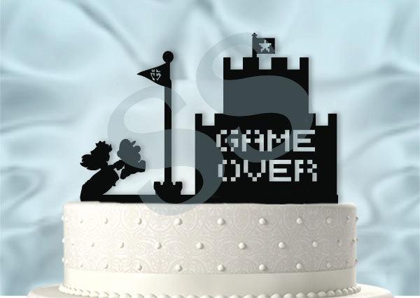 Свадьба - Mario and Peach Inspired Wedding Cake Topper