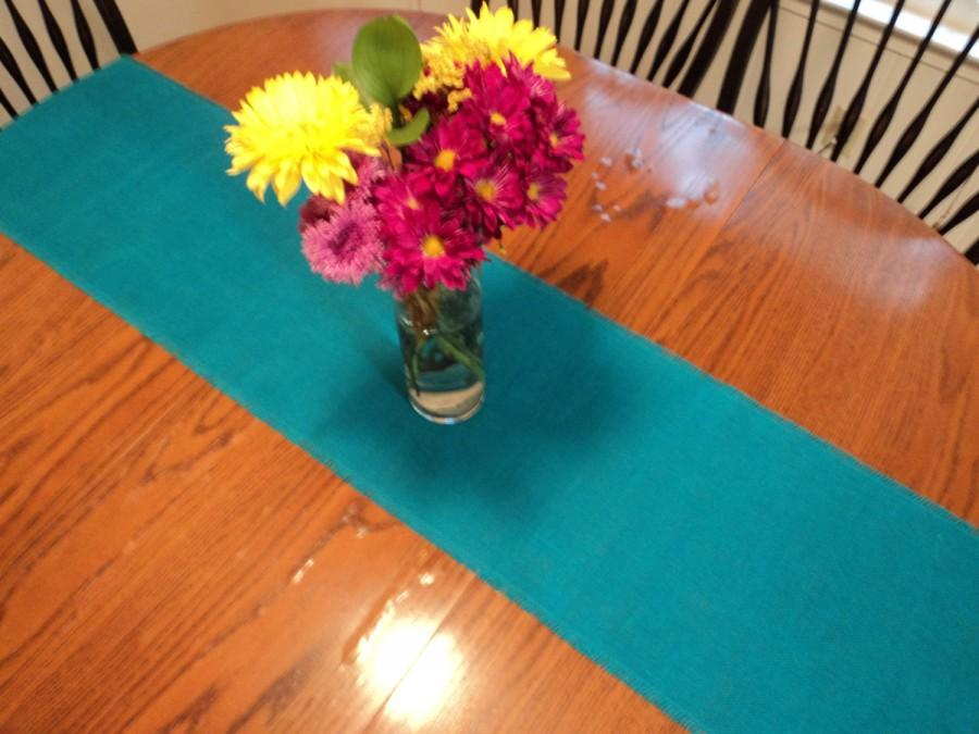 Свадьба - Turquoise Burlap Table Runner Rustic Wedding Decorations Aqua Teal Table Runner Seaside Style Home Decor