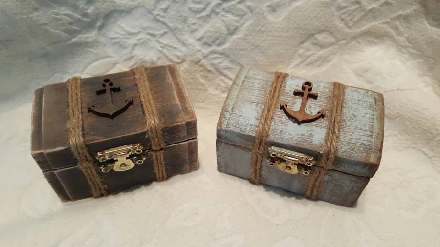 Свадьба - Beachy Coastal Nautical Shabby Chic Rustic Wedding Ring BOx Gift Box Trinket Box Wedding Decor
