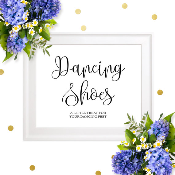 Wedding - Dancing Shoes Sign-Printable Chic Calligraphy Dancing Shoes-DIY Wedding Flip Flops Sign-Dancing Shoes Favors for Weddings-Dancing Feet Sign