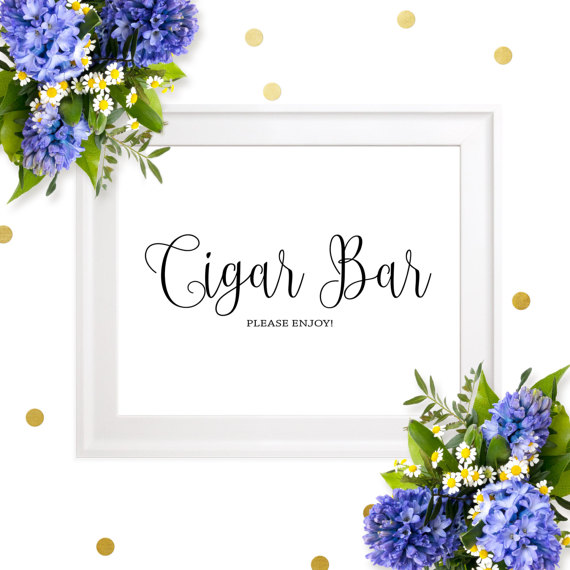 زفاف - Cigar Bar Wedding Sign-Chic Calligraphy Cigar Bar Please Enjoy Sign-DIY Printable Cigar Sign for Rustic Wedding-Groomsmen Cigars Party