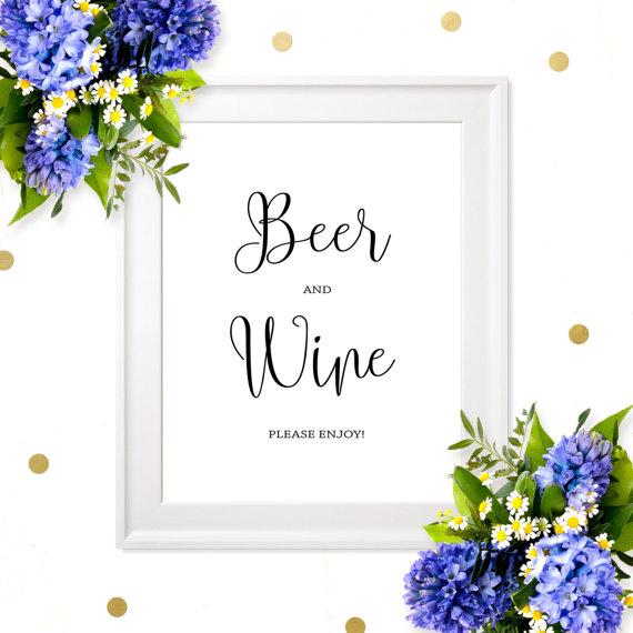 زفاف - Wedding Beer and Wine Sign-Chic Calligraphy Wedding Bar Sign-Printable Wedding Drink Sign-Rustic Wedding Decor- Wedding Alcohol Bar Sign