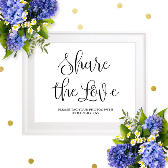Hochzeit - Wedding Hashtag Sign-Share The Love Social Media Hashtag Sign-Personalized Chic Calligraphy Printable Wedding Sign-Social Media Sign
