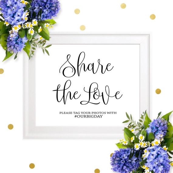 زفاف - Wedding Hashtag Sign-Share The Love Social Media Hashtag Sign-Personalized Chic Calligraphy Printable Wedding Sign-Social Media Sign