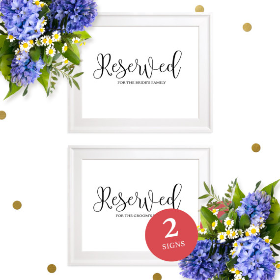 Mariage - Reserved for the Bride's and Groom's Family Printable Sign-Reserved for Family Sign-Reserved Seating-Table Sign-Calligraphy Wedding Sign