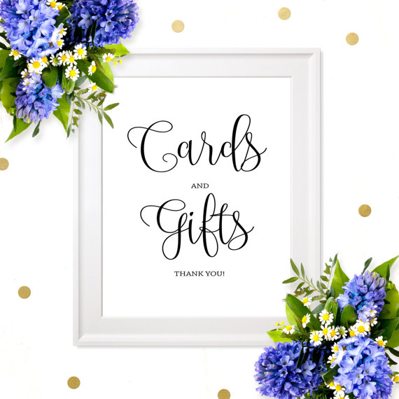 Cards And Gifts Sign Diy Printable Wedding Sign Chic Calligraphy