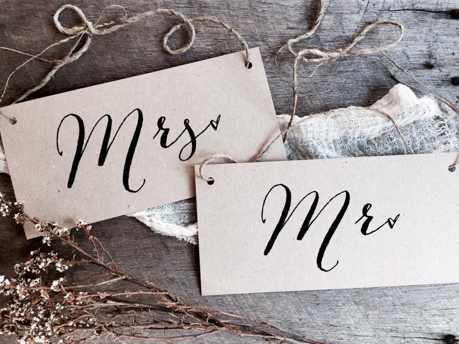 Mariage - Mr Mrs Signs, Wedding Signs, Kraft Wedding Signs, Rustic Wedding Signs, Wedding Chair Signs, Mr Mrs, Chair Signs