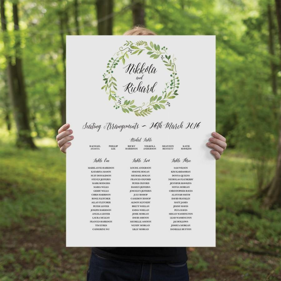 Mariage - Printable Wedding Seating Chart, Watercolour Spring Green Wreath, Wedding Signage - Spring Green - Portrait
