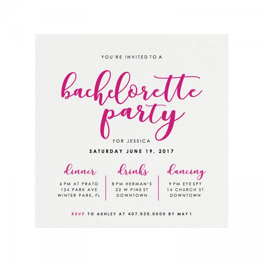 Bachelorette Party Invitation Pink Calligraphy Bachelorette Party