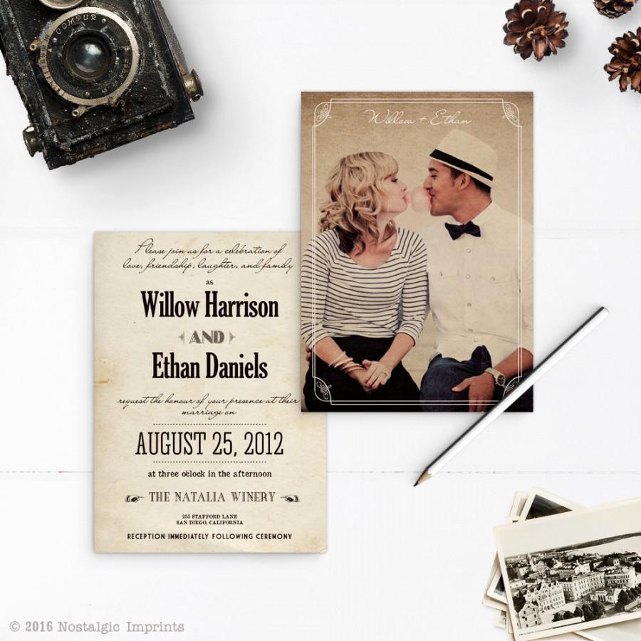 "Hochzeit - Vintage Rustic Wedding Invitations, 5x7, Wedding invitations, the ""Willow"""